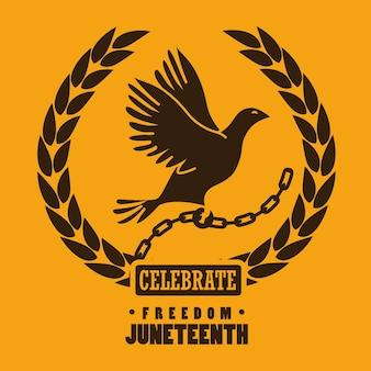 自由は、鎖と月桂樹のシルエットを鳩