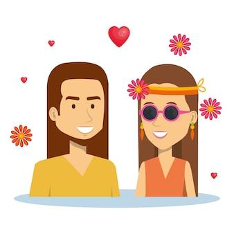 Брюнетка-хиппи-пара с сердечками и цветами