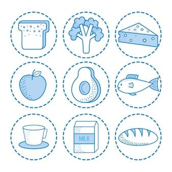 手描きの健康食品ステッカーのセット