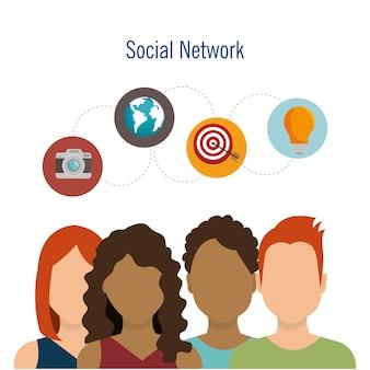 ソーシャルネットワークチームワークのコミュニケーションデザイン