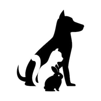 ペットショップ獣医記号シルエット犬の猫バニー