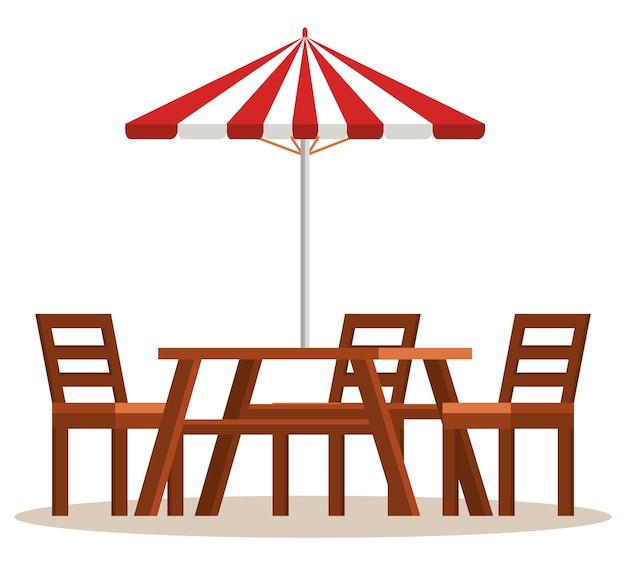 傘のシーンのベクトルイラストデザインとピクニックテーブル