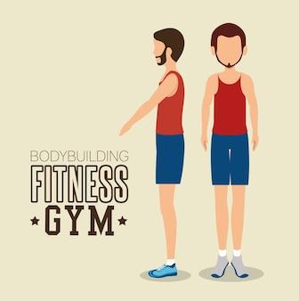 Мужчина представляет различные бодибилдинг фитнес-зал дизайн иконок