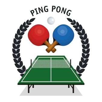 Пинг-понг оборудование спорт векторная иллюстрация дизайн