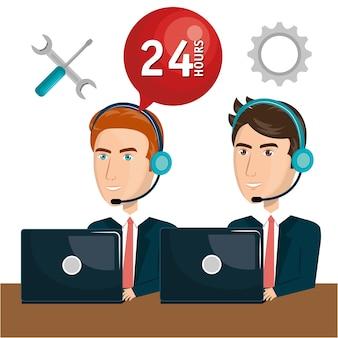 Агент по обслуживанию клиентов, работающий онлайн-дизайн векторной иллюстрации