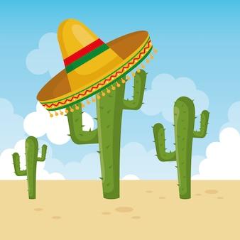 Кактус с мексиканской культурой шляпы