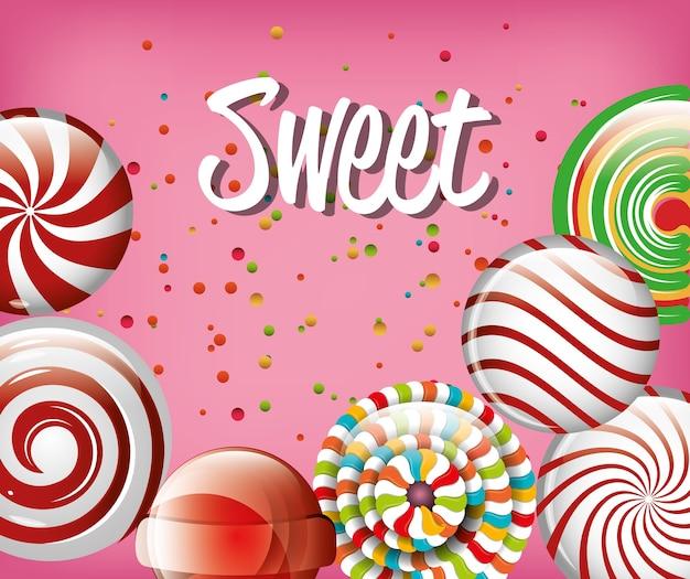 Сладкие конфеты радуга и спираль с розовым фоном