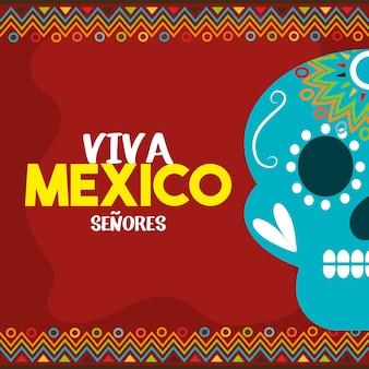 赤い背景の頭蓋骨のビバ・メキシコ