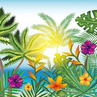トロピカルとエキゾチックな花とビーチの背景の上に葉