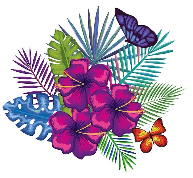 トロピカルとエキゾチックな蝶の花