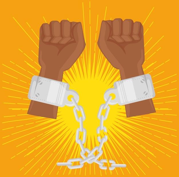 アフロアメリカ人がチェーンで手を上げた