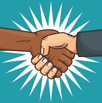 手を握っているアフロアメリカ人とコーカサス人
