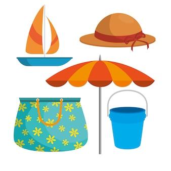 夏の旅行の休日とビーチのアイコン