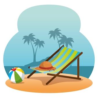 Деревянный стул на пляже на пляже