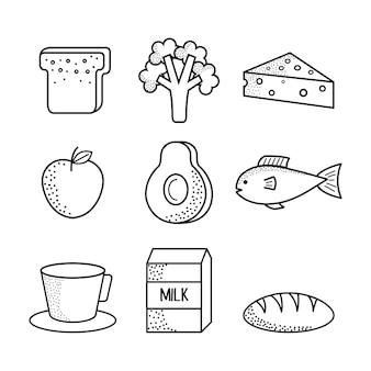 白い背景の上に手を引く健康的な食べ物。ベクトル図。