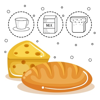 白い背景の上に手で描かれた食べ物ステッカーとチーズとパンのロッパー。ベクトル図。