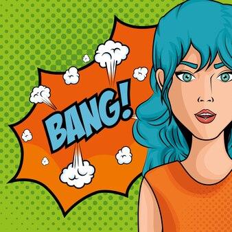 ポップアートアイコンのような青い髪の女性の漫画は、緑色の点線の背景ベクトルイラスト以上のバンサイン
