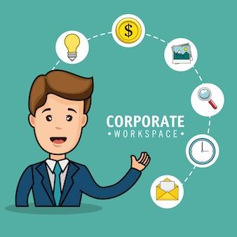 Корпоративный дизайн рабочей области с значками бизнесменов и канцелярских принадлежностей на фоне телы