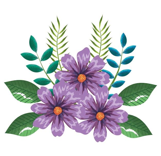 トロピカルとエキゾチックな花と葉ベクトルイラストデザイン