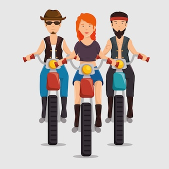 オートバイに乗るバイカー文化バイカー