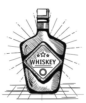 最高のウィスキーボトルラベルベクトルイラストデザインを描いた