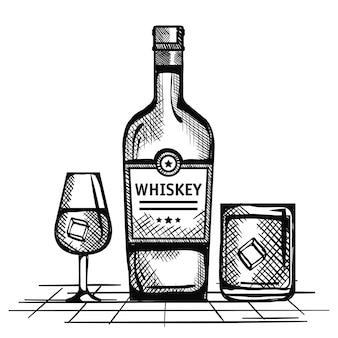 最高のウィスキーボトルとカップを描きました