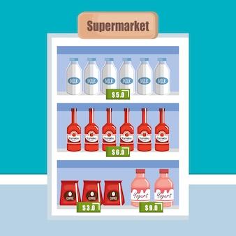 製品付きスーパーマーケット棚