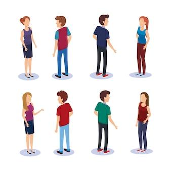 人のグループアイソメアバターベクトルイラストデザイン