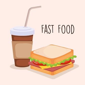 コーヒーベクトルイラストデザインとおいしいサンドイッチ