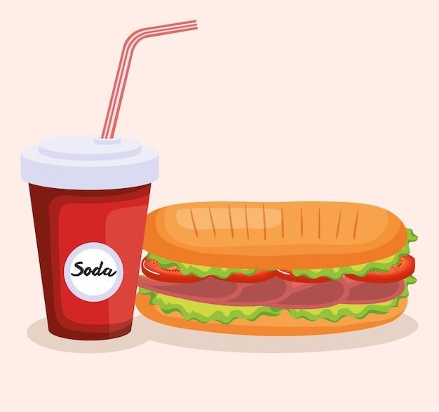 ソーダベクトルイラストデザインとおいしいサンドイッチ