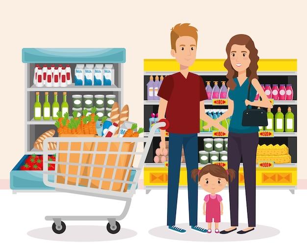 家族の買い物をしているスーパーマーケットの棚
