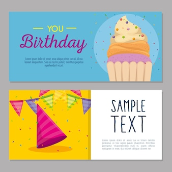 Поздравительная открытка с кексом и шляпой