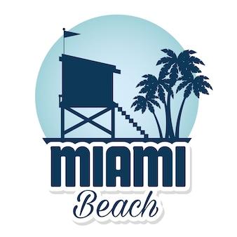 Майами пляж летние иконки дизайн векторной иллюстрации