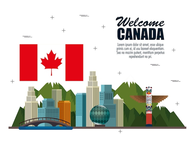 カナダの文化はアイコンのイラストのデザインを設定