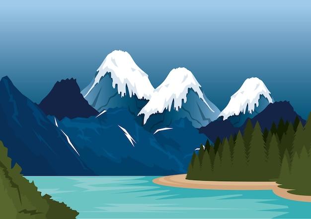カナダの風景風景のアイコンのベクトル図のデザイン