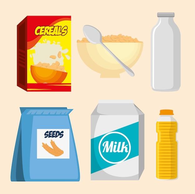 栄養食品アイコンのベクトルイラストデザインのグループ