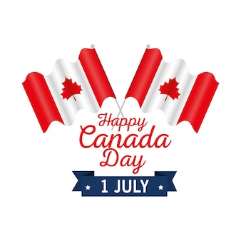 幸せなカナダの日の祝賀ポスター