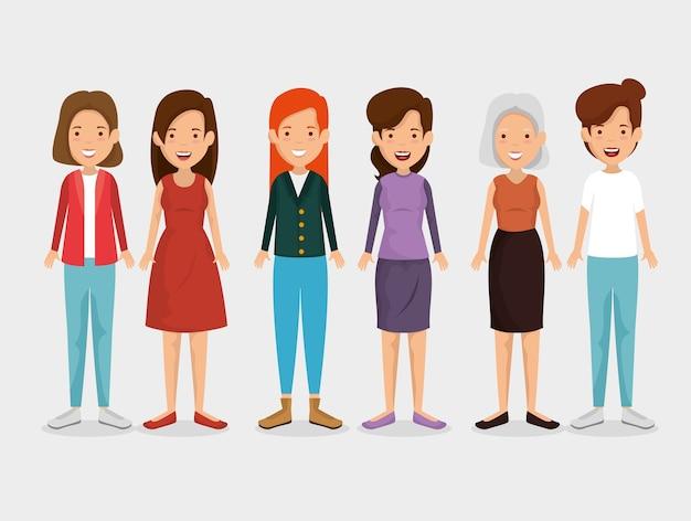 女性の友人のキャラクターのグループ
