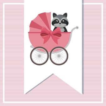 かわいいアライグマのカードを入れたベビーシャワーカード