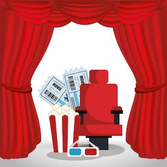 ポップコーンとチケットのある映画館の椅子