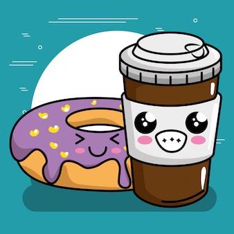 コーヒーカワイイキャラクターの甘いドーナツ