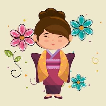 小さな日本の女の子かわいい花のキャラクター