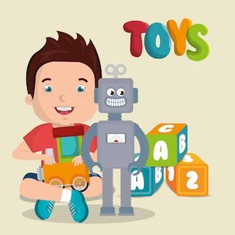 おもちゃのキャラクターで遊ぶ小さな男の子