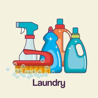 洗剤およびブラシツール洗濯およびクリーニングアイコン