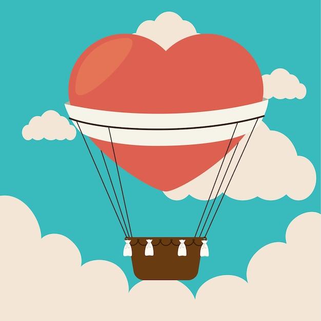 Дизайн воздушного шара над облачным фоном