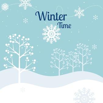 Зимний дизайн, векторные иллюстрации.