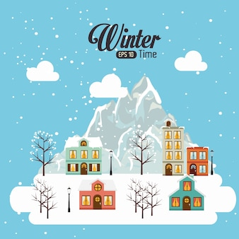 冬のデザイン、ベクトル図。
