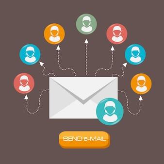 電子メールデザイン、ベクトル図。