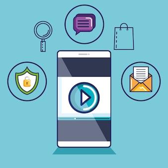 Смартфон с видеопроигрывателем на экране. мобильные потоковые технологии