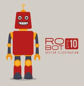 灰色の背景ベクトルのイラスト以上のロボットのデザイン